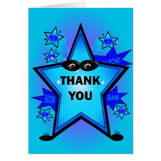 Superhero Party Thank You Blue Note Card