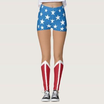 Halloween Themed Superhero Patriotic Blue Shorts Stars Red Boots Leggings