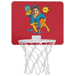 Superhero Personalized Action Photo Comic Art Mini Basketball Hoop