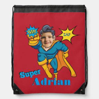 Superhero Personalized Champion Photo Template Drawstring Bag