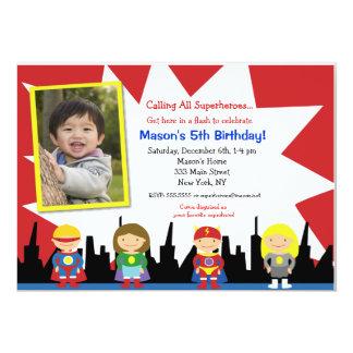 """Superhero Photo Birthday Party Invitations 5"""" X 7"""" Invitation Card"""