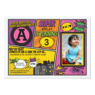 Superhero Pink Girl's Invitation Super Hero Invite