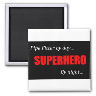 Superhero Pipe Fitter 2 Inch Square Magnet
