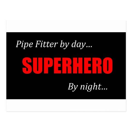 Superhero Pipe Fitter Postcard