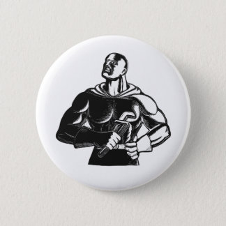 Superhero Plumber With Wrench Woodcut Button