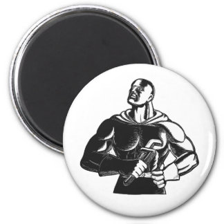 Superhero Plumber With Wrench Woodcut Magnet