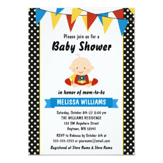 Superhero Polka Dot Bunting Baby Shower Card