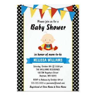 Superhero Polka Dot Bunting Baby Shower Card