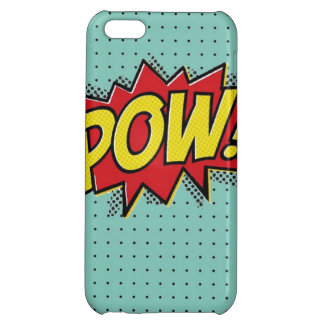 Superhero Pow Burst iPhone Case- Blue Polka Dots Cover For iPhone 5C