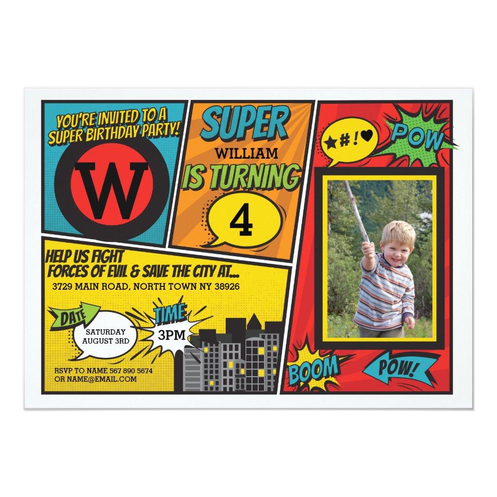 Superhero Red Blue Invitation Super Hero Invite