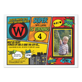 Superhero Red Blue Invitation Super Hero Invite