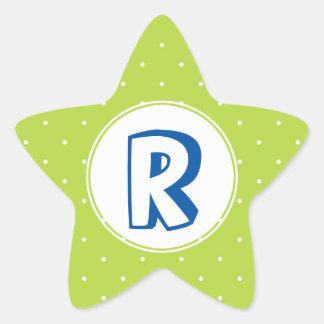 Superhero red yellow polka dot kid monogram star sticker