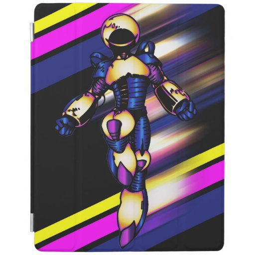 Superhero Robot On Black With Neon Stripes iPad Smart Cover