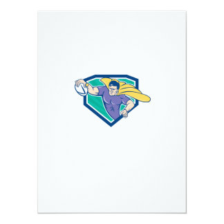 Superhero Rugby Player Scoring Try Crest 5.5x7.5 Paper Invitation Card
