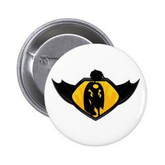 Superhero Silhouette Button Badge