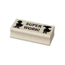 Superhero Silhouette Super Work Teacher's Homework Rubber Stamp