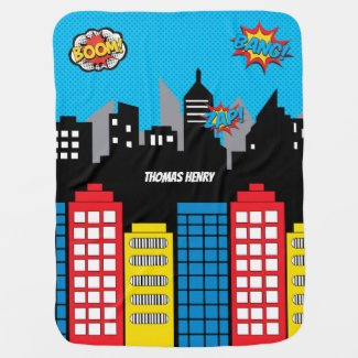 Superhero Skyline Cityscape Comics Boy Nursery Baby Blanket