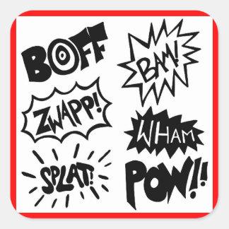 Superhero Sounds Square Stickers