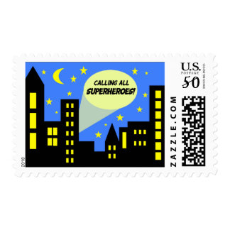 Superhero stamps   city skyline   super hero