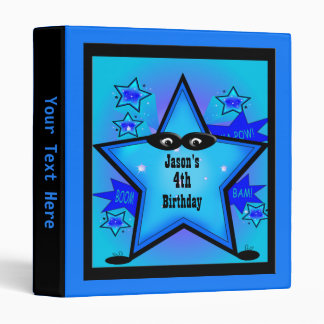 Superhero Star Birthday Boy Custom Blue Kids 3 Ring Binder
