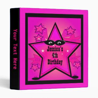 Superhero Star Kid Birthday Girl Pink Binder