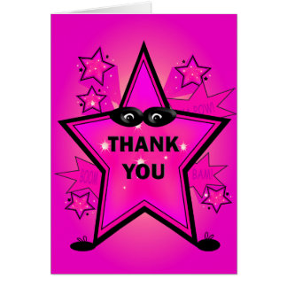Superhero Star Party Thank You Pink Note Card