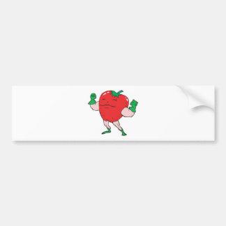 superhero strawberry cartoon character car bumper sticker