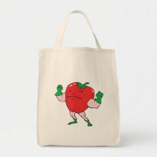 superhero strawberry cartoon character canvas bag