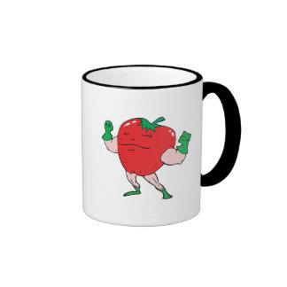 superhero strawberry cartoon character coffee mugs