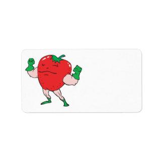 superhero strawberry cartoon character custom address label