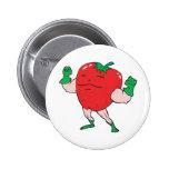 superhero strawberry cartoon character pin