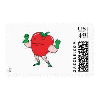 superhero strawberry cartoon character postage