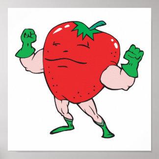superhero strawberry cartoon character posters