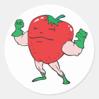 superhero strawberry cartoon character round sticker