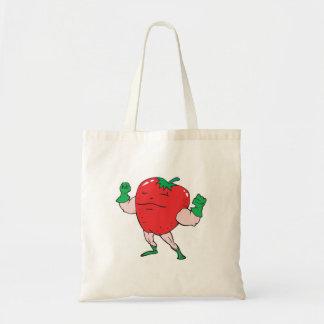 superhero strawberry cartoon character tote bag