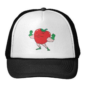 superhero strawberry cartoon character trucker hat