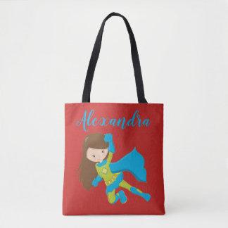 Superhero Super Flying Hero Girl Power Name Tote Bag