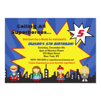 Superhero Super Hero Birthday Party Invitations