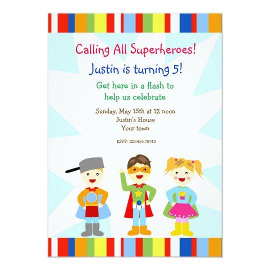 Superhero Super Heroes Birthday Party Invitations