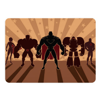 Superhero Team Silhouettes Card