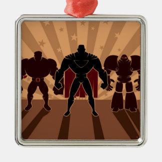 Superhero Team Silhouettes Metal Ornament