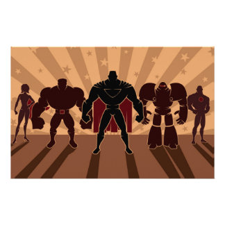 Superhero Team Silhouettes Stationery