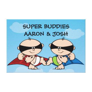 Superhero Twin Boys Personalized Canvas Wall Art