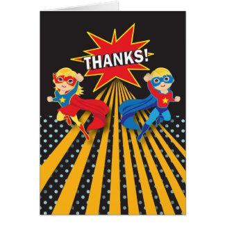 Superhero   Twins Thank You Card