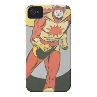 Superhero with Blast Symbol running iPhone 4 Cover