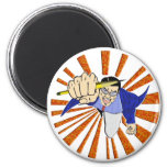 Superhero with Pencil 2 Inch Round Magnet