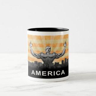 Superhéroe americano taza dos tonos