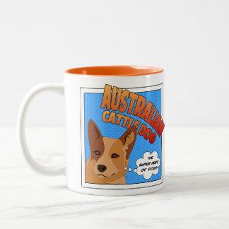 Superhéroe australiano del perro del ganado taza dos tonos