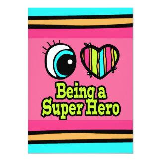 """Superhéroe brillante del amor del corazón I del Invitación 4.5"""" X 6.25"""""""