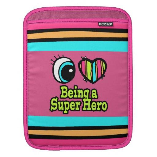 Superhéroe brillante del amor del corazón I del oj Funda Para iPads